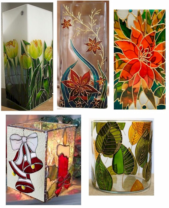 FAUX STAINED GLASS VASE