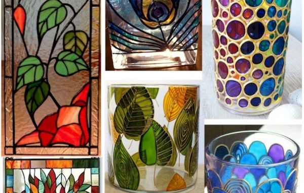 FAUX STAINED GLASS VASES